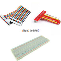 T Type GPIO Extension Board+Raspberry Pi 2 B Kits+Breadboard+40Pin Rainbow Cable