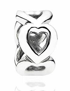 Linked Open Heart Spacer Charm Bracelet Bead 925 Silver