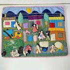 Folk Art Wall Tapestry Hand Crafted House Street People Colors ? Peruvian