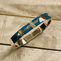 Vintage Taxco Mexico 925 Silver Turquoise Inlay Hinged Bangle Bracelet TJ-59