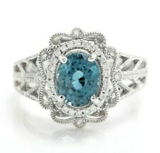 2.65 Carat Natural Blue Zircon and Diamonds in 14K Solid White Gold Ring