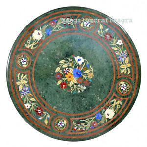"24"" Green Marble Coffee Table Top Pietradura Inlay Home Decor"