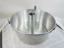 Vintage 2 pc 10 inch Round Angel Food Cake Pan Aluminum  with legs - unmarked
