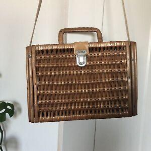 Vintage 60's Wicker Woven Basket Box Bag Shoulder Bag Handbag Summer
