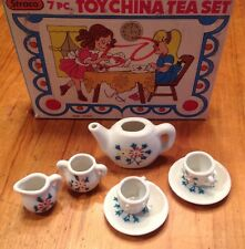 Vintage Childs Girl TOY Play Porcelain China 7pc TEA Pot SET in BOX Floral Japan