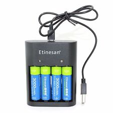 4pcs Etinesan 1.5v 3000mWh rechargeable Lithium AA battery + 4 slots USB Charger