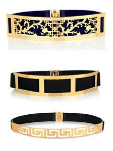 Womens Ladies Wide Gold Hook Flower Black Cinch Waist Belt Elastic Stretch Gifts