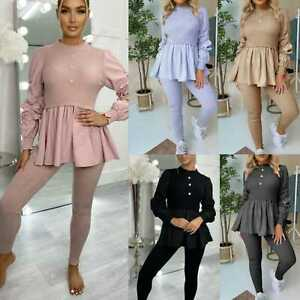 Womens Ladies Ribbed Frill Peplum Loungewear Ruched Sleev Contrast Tracksuit Set