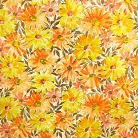 1.5 Yards 1950s 60s Vintage Floral Fabric 100% Cotton Yellow Orange FLAW!