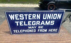 Rare 1920's Western union Telegrams Advertisement PORCELAIN Flange Sign Rare!