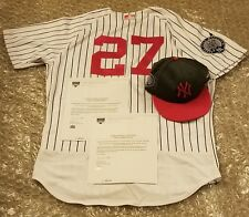 Austin Romine NY Yankees 2017 Game Used Jeter Day Jersey & Hat Set MLB & Steiner