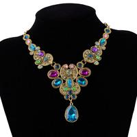 Women Colorful Crystal Flower Choker Bib Statement Gold Chain Necklace Jewelry