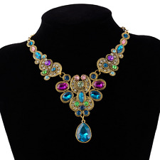 Retro Ancient Gold Plated Colrful Rhinestone Crystal Pendant Choker Bib Necklace