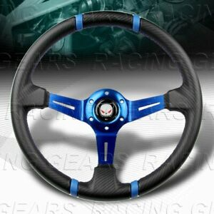350MM CARBON PVC LEATHER DEEP DISH DRIFT BLUE STITCH 6-HOLE STEERING WHEEL