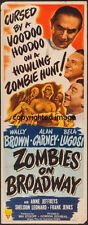 Zombies On Broadway Movie Poster Insert 14x36 Replica