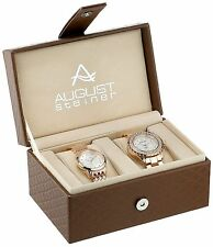 NEW August Steiner AS8171 His & Hers Rose Gold Diamond Watch Set (AS8133/AS8172)
