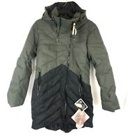 Indygena Women's Ayaba Black Green Quilted Coat Size Medium, Hooded