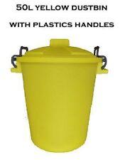 50L PLASTIC HANDLE YELLOW Garden Storage Dustbin Bin 50 Litre Refuse HEAVY DUTY