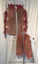 Vintage 50's Child's Leather Western Cowboy Vest & Chaps Studs Jewels Conchos +