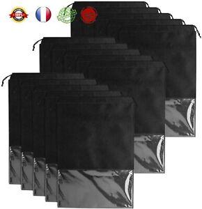 Sacs à Chaussures de Voyage avec Fenêtre Transparente Lot 15 PCS Noir