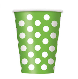 Unique Lime Green Polka Dot Party Cups 6 Piece 12 oz.