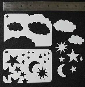 2 in 1 CLOUDS STARS RAIN DROPS MOON SUN Weather Airbrush Stencils Shapes Face