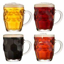 VonShef Set of 4 Beer Tankard Mugs Traditional Vintage Glass Dimple Design 555ml