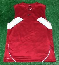 Vintage Nike Center Check Swoosh Flight Basketball Jersey Men's Large Red White