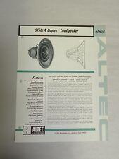 Vtg Original Altec 615B/A Duplex Loudspeaker Speaker Specification Sheet (A3)