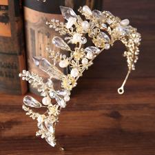 Wedding Bridal Gold Plated Rhinestone Faux Diamond Crown Tiara Party Hair Band