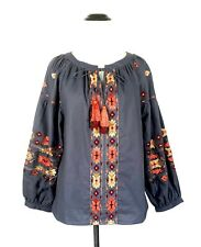 KAS Designs New York Blue Orange Embroidered Cotton Peasant Top S