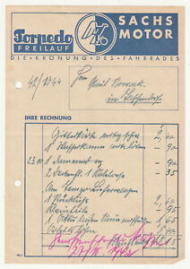 Facture Torpedo Roue Libre Sachs Moteur Vélo 1942 ! (D4