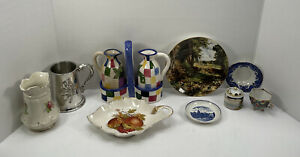 Collection of Pottery Including Plates Cups Vase Dish Oil & Vinegar With Holder