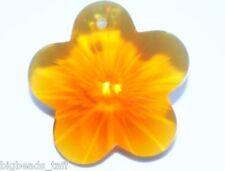 A big amber crystal glass flower pendant 30mm