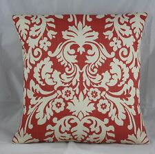 PILLOW COVER  WAVERLY DAMASK RED PERSIMMON AND IVORY WHITE 16X16