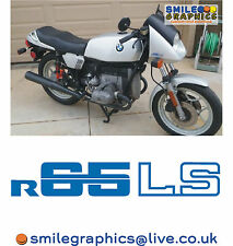 BMW R65LS MOTORCYCLE LOGOS STICKERS DECALS BADGES BLUE (x3)