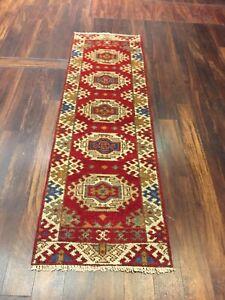 "On Sale  Hand Knotted Indo Kazak Oushak Geometric Area Rug Carpet 2'1""x6'9"",51"