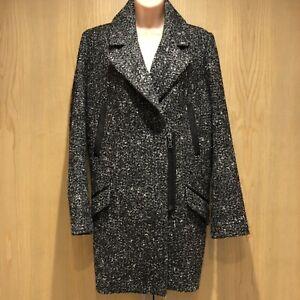Sandwich Ladies Wool Blend Coat Jacket Size Eur 38 (UK 10) Grey Long Smart Zip