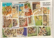 100 verschiedene Briefmarken mit Tiger , Löwen , Wildkatzen , wildcats , felinos