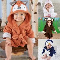 Baby Kid Infant Animal Bath Towel Robe Coral Fleece Blanket Hooded Wrap Bathrobe