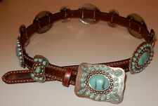 SSM Silver Tone & Turquoise Color Cowhide Belt COWBOY Western Style READ