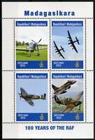 Madagascar 2019 MNH RAF Royal Air Force 100 Years 4v M/S Aviation Stamps