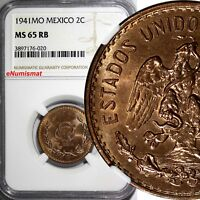MEXICO Bronze 1941 MO 2 Centavos NGC MS65 RB NICE TONING 1 GRADED HIGHER KM# 419