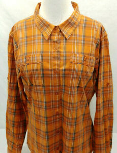 Cabelas Plaid Long Sleeve Button Front Hiking Camping Outdoors Shirt Womens L
