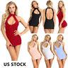 Sexy Women's Open Bust Halter Bodycon Mini Dress Backless Lingerie Club wear US