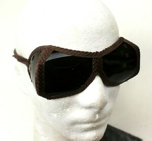 VINTAGE SWEDISH ARMY SUN / DUST GOGGLES with POUCH FOLD-AWAY
