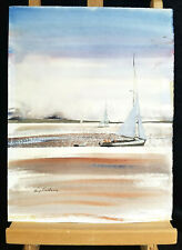"""Kerry Hallam Painting, 15 5/8  X 12"""" Acrylic on Paper, Nautical, Signed"""