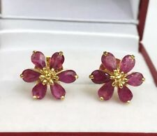 14k Solid Yellow Gold Cluster Flower Stud Earrings, Natural Ruby 2.45 Grams