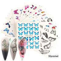 30x Butterfly Nail Stickers Blue Black Water Transfer Decals Nail Art DIY Decor