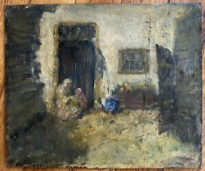 Tableau Impressionnisme Scène d'intérieur Maternité Huile XIXème trace signature